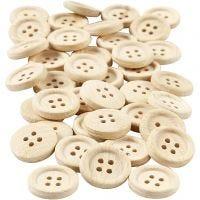 Bottoni in legno, diam: 18 mm, 4 buchi, 40 pz/ 1 conf.