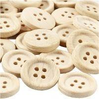 Bottoni in legno, diam: 23 mm, 4 buchi, 30 pz/ 1 conf.