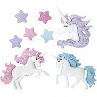 Bottoni novità, unicorni magici, H: 9-32 mm, L: 9-35 mm, 3 pz/ 1 conf.