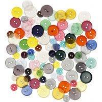 Mix bottoni, diam: 12+18+20 mm, colori asst., 100 pz/ 1 conf., 50 g