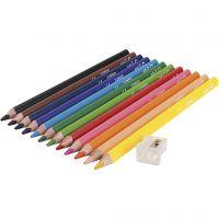 Edu Jumbo Pastelli colorati, spess. 10 mm, mina 5 mm, colori asst., 12 pz/ 1 conf.