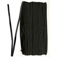 Corda elastica, L: 6 mm, nero, 50 m/ 1 rot.