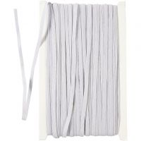 Corda elastica, L: 6 mm, bianco, 50 m/ 1 rot.