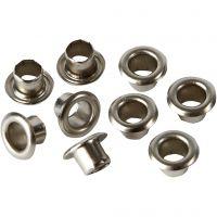 Occhielli, H: 4,5 mm, diam: 7,5 mm, misura buco 4 mm, argento, 100 pz/ 1 conf.