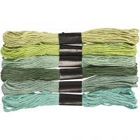Assortimento filo da ricamo, spess. 1 mm, verde glitter, 6 pacch./ 1 conf.