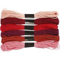 Assortimento filo da ricamo, spess. 1 mm, armonia rosso, 6 pacch./ 1 conf.