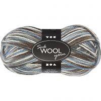 Lana per calze, L: 200 m, armonia blu/grigio, 50 g/ 1 gom.