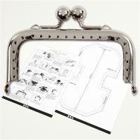 Kit chiusura per borsetta, misura 8 cm, argento, 1 pz