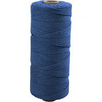 Filo di cotone, L: 315 m, spess. 1 mm, Qualità sottile 12/12, blu, 220 g/ 1 gom.