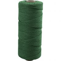 Filo di cotone, L: 315 m, spess. 1 mm, Qualità sottile 12/12, verde, 220 g/ 1 gom.