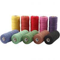 Filo di cotone, L: 315 m, spess. 1 mm, Qualità sottile 12/12, colori forti, 10x220 g/ 1 conf.