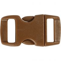 Click Clasp, L: 29 mm, L: 15 mm, misura buco 3x11 mm, marrone, 4 pz/ 1 conf.
