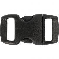 Click Clasp, L: 29 mm, L: 15 mm, misura buco 3x11 mm, nero, 4 pz/ 1 conf.
