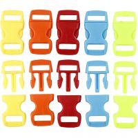 Click Clasp, L: 29 mm, L: 15 mm, misura buco 3x11 mm, colori asst., 100 pz/ 1 conf.