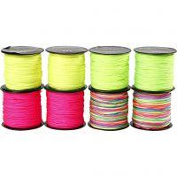 Corda di nylon, spess. 1 mm, verde neon, neon pink, giallo neon, neonmix, 8x28 m/ 1 conf.