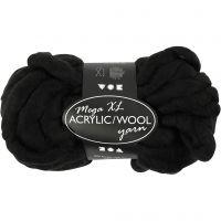 Filato spesso Chunky in lana/acrilico, L: 15 m, misura mega , nero, 300 g/ 1 gom.