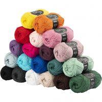 Filato in cotone, dim. 8/4, L: 170 m, il contenuto può variare , colori asst., 20x50 g/ 1 conf.