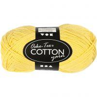 Filato in cotone, dim. 8/4, L: 170 m, giallo, 50 g/ 1 gom.