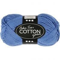 Filato in cotone, dim. 8/4, L: 170 m, blu, 50 g/ 1 gom.