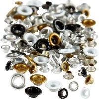 Occhielli, H: 2,9+3,15 mm, diam: 5+8 mm, misura buco 3,2+4,8 mm, 120 pz/ 1 conf.