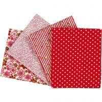 Stoffa patchwork, misura 45x55 cm, 100 g, rosso, 4 pz/ 1 conf.