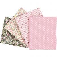 Stoffa patchwork, misura 45x55 cm, 100 g, rosato, 4 pz/ 1 conf.