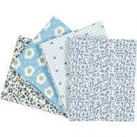 Stoffa patchwork, misura 45x55 cm, 100 g, azzurro, 4 pz/ 1 conf.