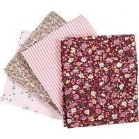 Tessuto per Patchwork, misura 45x55 cm, 100 g, rosato, 4 pz/ 1 pacch.