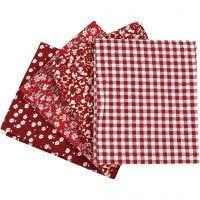 Tessuto per Patchwork, misura 45x55 cm, 100 g, rosso, 4 pz/ 1 pacch.