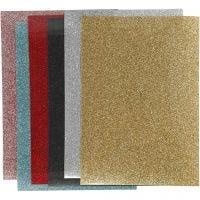 Pellicola da stirare, 148x210 mm, glitter, colori asst., 6 fgl./ 1 conf.
