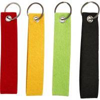 Portachiavi, misura 3x15 cm, nero, verde, rosso, giallo, 4 pz/ 1 conf.