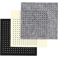 Feltro con buchi, misura 20x20 cm, spess. 3 mm, nero, grigio, avorio, 3x4 fgl./ 1 conf.