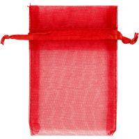 Sacchettini in organza, misura 7x10 cm, rosso, 10 pz/ 1 conf.