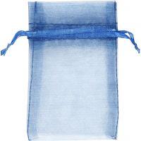 Sacchettini in organza, misura 7x10 cm, blu, 10 pz/ 1 conf.