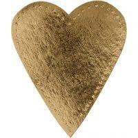 Cuore, H: 12 cm, L: 10 cm, 350 g, oro, 4 pz/ 1 conf.