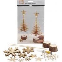 Alberi di Natale in finta pelle, spess. 0,55 mm, oro, 1 set