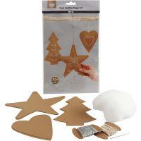 Ornamenti natalizi in finta pelle, spess. 0,55 mm, natural, 1 set
