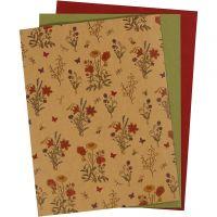 Carta in finta pelle, 21x27,5+21x28,5+21x29,5 cm, spess. 0,55 mm, tinta unita,stampa, natural, verde, rosso, 3 fgl./ 1 conf.