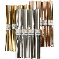 Carta in finta pelle, L: 49 cm, spess. 0,55 mm, tinta unita,lamina, oro, rosato oro, argento, 12x1 m/ 1 conf.