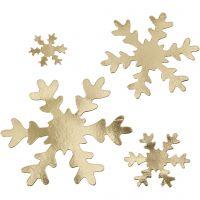 Fiocco di neve, diam: 3+5+8+10 cm, 350 g, oro, 16 pz/ 1 conf.