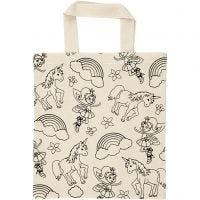 Shopping bag, unicorno, misura 27,5x30 cm, 135 g, natural chiaro, 1 pz