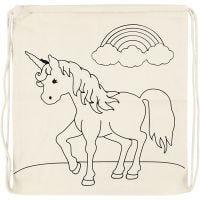 Borsa con chiusura a cordoncino, unicorni, misura 37x41 cm, 110 g, natural chiaro, 1 pz