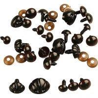 Occhi e nasi da orsacchiotto, diam: 10-15 mm, misura 15-25 mm, 130 asst./ 1 conf.