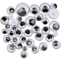 Occhi mobili, da cucire, diam: 8-20 mm, 250 asst./ 1 conf.