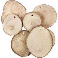 Fette di legno con foro, diam: 40-70 mm, misura buco 4 mm, spess. 5 mm, 25 pz/ 1 conf.