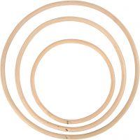 Anello di bamboo, diam: 15,3+20,3+25,5 cm, 3 pz/ 1 set