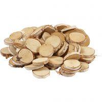 Fette di legno con foro, diam: 35-45 mm, misura buco 4 mm, spess. 7 mm, 500 g/ 1 conf.