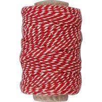 Cordino in cotone, spess. 1,1 mm, rosso/bianco, 50 m/ 1 rot.