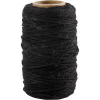Cordino in cotone, spess. 1,1 mm, nero, 50 m/ 1 rot.