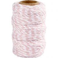 Cordino in cotone, spess. 1,1 mm, bianco/rosso chiaro, 50 m/ 1 rot.